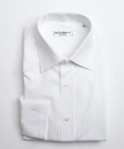Yves Saint Laurent  - White Textured Stripe Cotton Point Collar Dress Shirt