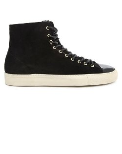 Buttero - Tanino Hi-Top Black Suede Sneakers with Leather Toe Cap