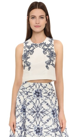 Marchesa Notte - Beaded Faille Top