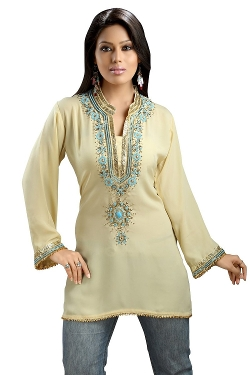 Indian Selections - Bead & Lace Crepe Kurti