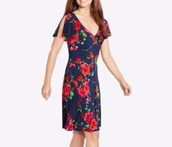 American Living - Flutter-Sleeve Floral-Print Dress