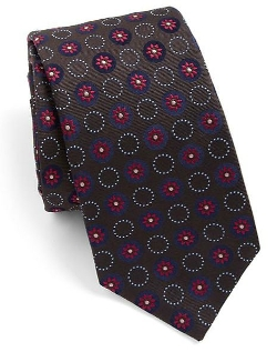 Eton of Sweden  - Circle Flower Medallion Silk Tie