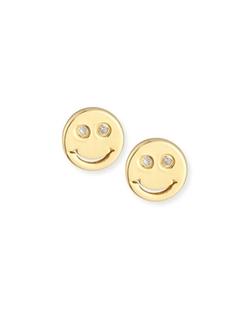 SHY By SE  - Happy Face Diamond Stud Earrings