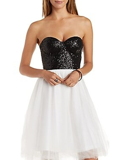Charlotte Russe - Sparkling Sequined Bustier Top