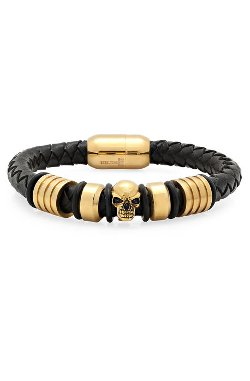 Supreme Life Jewelry - Leather Bracelet with Skull Accents