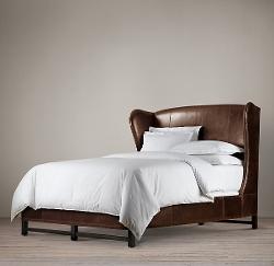 Restoration Hardware - French Wing Leather Bed