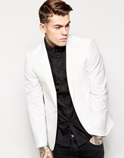 Grateful Thread White Tuxedo Jacket Shawl Collar - Tuxedo Jacket