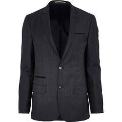 River Island - Navy Check Slim Suit Jacket
