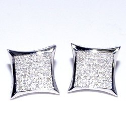 Earrings-MidwestJewellery  - Diamond Kite Shape Pave Screw Stud Earring