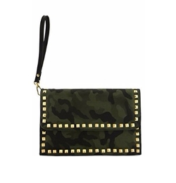 Just1fashion - Rhinestone Camouflage Envelope Clutch Bag