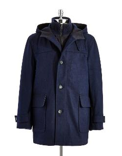 BEN SHERMAN  - Hooded Peacoat