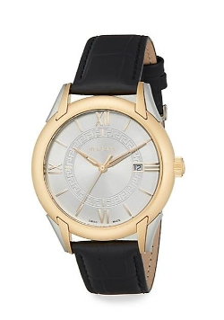 Versace - Apollo Stainless Steel & Croc-Embossed Leather Strap Watch
