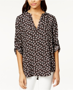Maison Jules - Roll-Tab-Sleeve Floral-Print Blouse