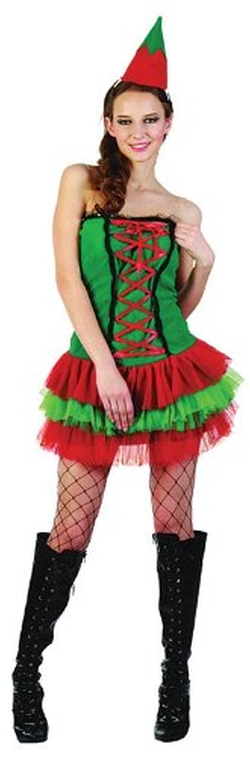 Bristol Novelty - Green & Red Ladies Christmas Elf Costume
