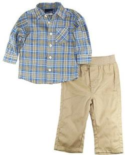 Rugged Bear  - Infant Plaid Long Sleeve Shirt / Pant Set