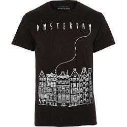 River Island - Black Amsterdam City Sketch T-shirt