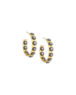 Freida Rothman - Studded Bezel Hoop Earrings