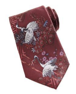 Brioni  - Crane Printed Silk Tie