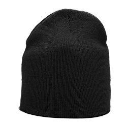 HDP Beanies - Classic Plain Black Wool Feel Short Beanie Hat