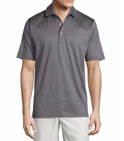 Peter Millar  - Solid Lisle-Knit Cotton Polo Shirt