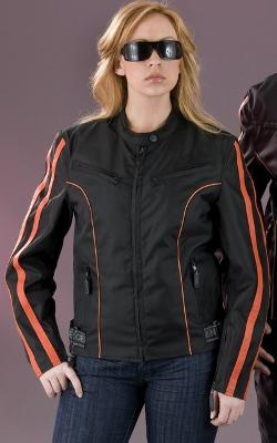 Shaf Inc. - Ladies Nylon/Leather Motorcycle Jacket Orange