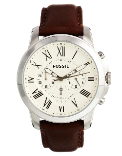 Fossil - Leather Strap Chronograph Watch