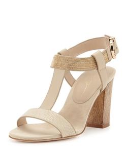 Lola Cruz - Chain-Detail T-Strap Sandals