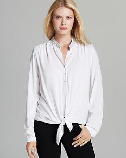 Karen Kane  - Embellished Collar Tie Top