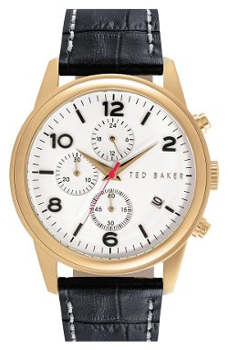 Ted Baker London  - Chronograph Embossed Leather Strap Watch