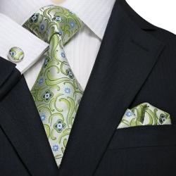Landisun - Floral Pattern Silk Tie