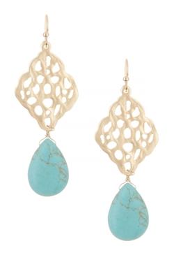 Cara Accessories  - Filigree & Teardrop Stone Drop Earrings