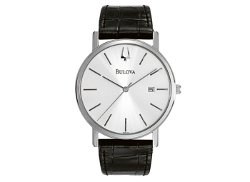Bulova - Croc Embossed Leather Strap Watch