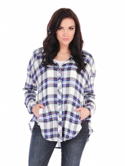 Vintage Havana - Plaid Oversized Button Down Shirt