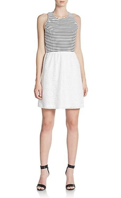 Kensie  - Striped-Bodice Jacquard Dress