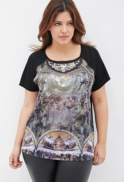 Forever21 - Bejeweled Renaissance Print Top