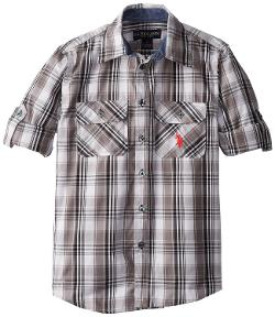 U.S. Polo Assn.  - Boys 8-20 Long Sleeve Plaid Shirt