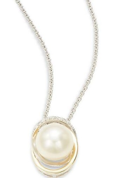 Mastoloni - Pearl & Diamond Pendant Necklace