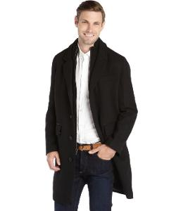 Cole Haan  - Black Wool Blend Knit Twill And Leather Trim Wool Coat