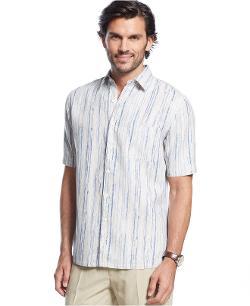 Tasso Elba  - Island Tiller Striped Silk-Linen-Blend Shirt