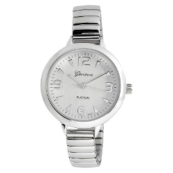Geneva - Rhinestone Accent Shiny Metal Watch