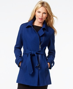 Kenneth Cole - Asymmetrical-Zip Belted Trench Coat