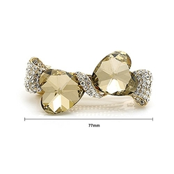 Glamorousky - Glitterland Elegant Champagne Gold Crystal Bow Hair Clip