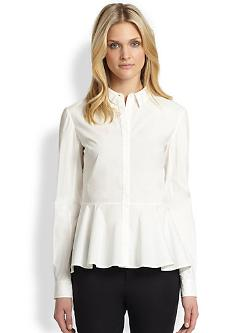 Marchesa Voyage  - Peplum Button-Down Shirt