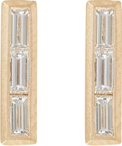 Monique Péan - Baguette Diamond & Gold Bar Studs Earrings