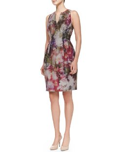 Kay Unger New York   - Sleeveless Floral-Print Dress