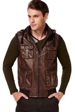 Erechtheus  - Rib-knit Faux-Leather Hooded Vest