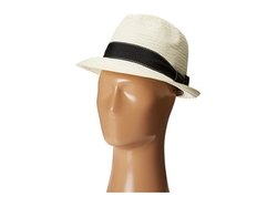 Scala - Striped Ribbon Band Toyo Fedora Hat