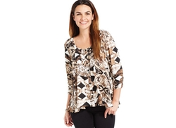Style&co.  - Patchwork-Print Peasant Blouse