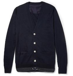 Sacai   - Fine-Knit Wool Drawstring-Hem Cardigan