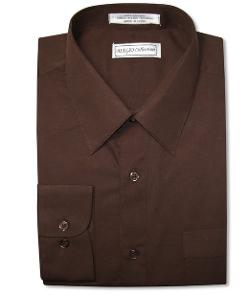 Biagio  - Chocolate Brown Dress Shirt W/ Convertible Cuffs